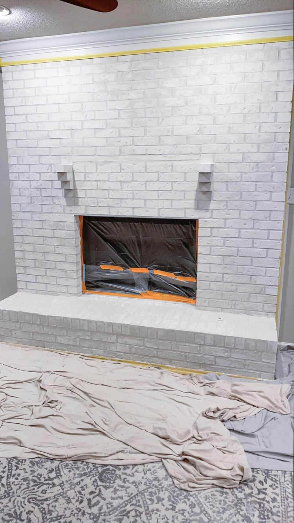 brick fireplace with filled in mortar joints
