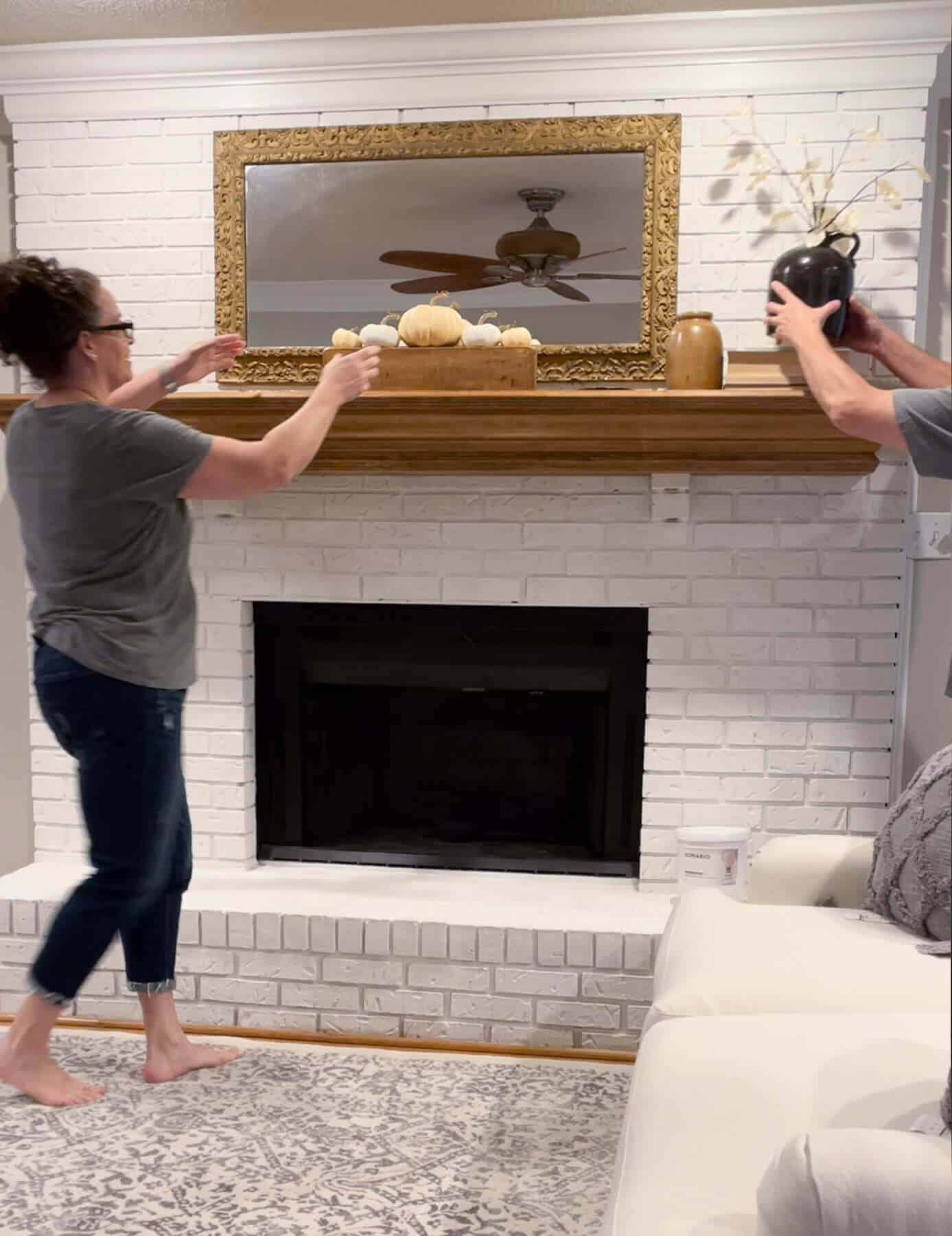 removing items from a fireplace mantel