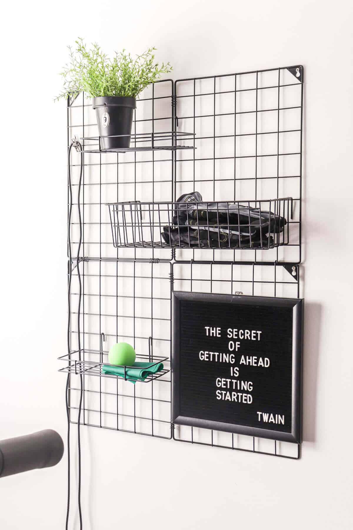 grid wall organizer for a home gym