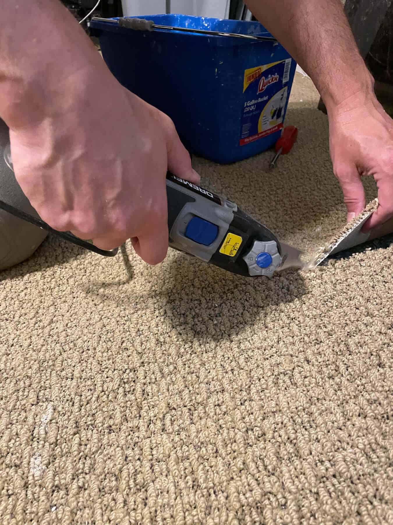 Dremel tool used to cut carpet