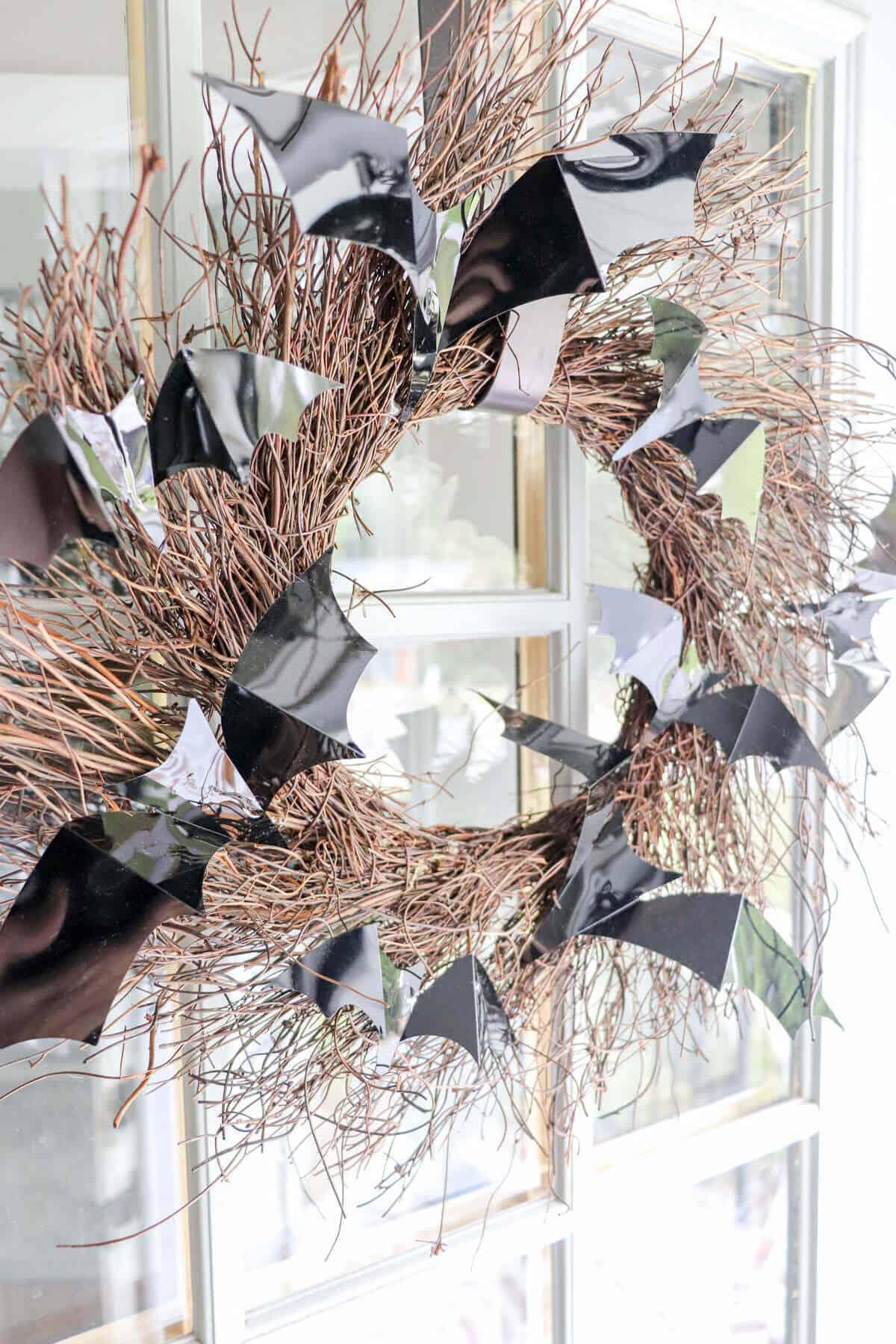DIY Grapevine wreath with bats