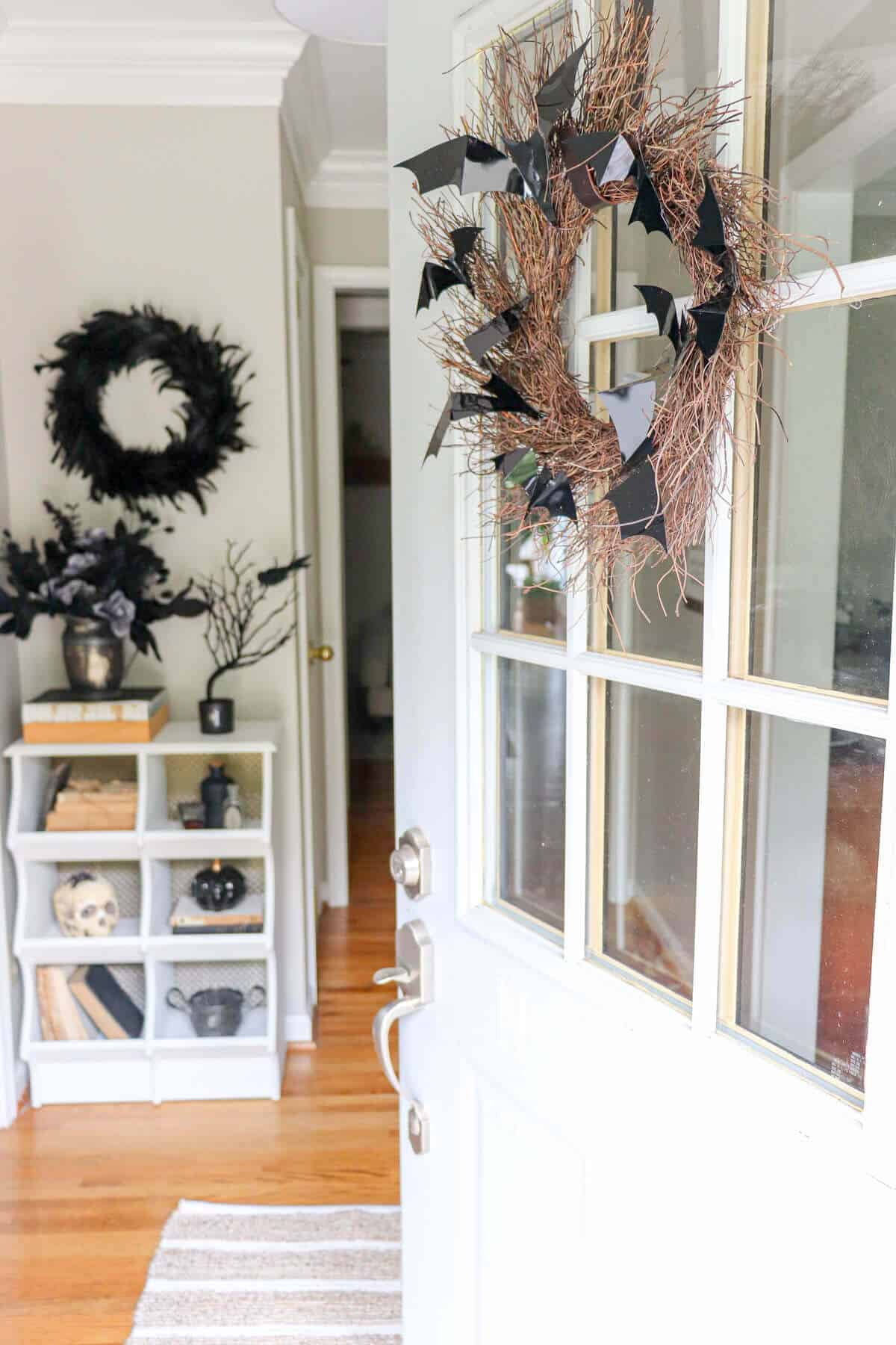 Entryway to home decorated for halloween