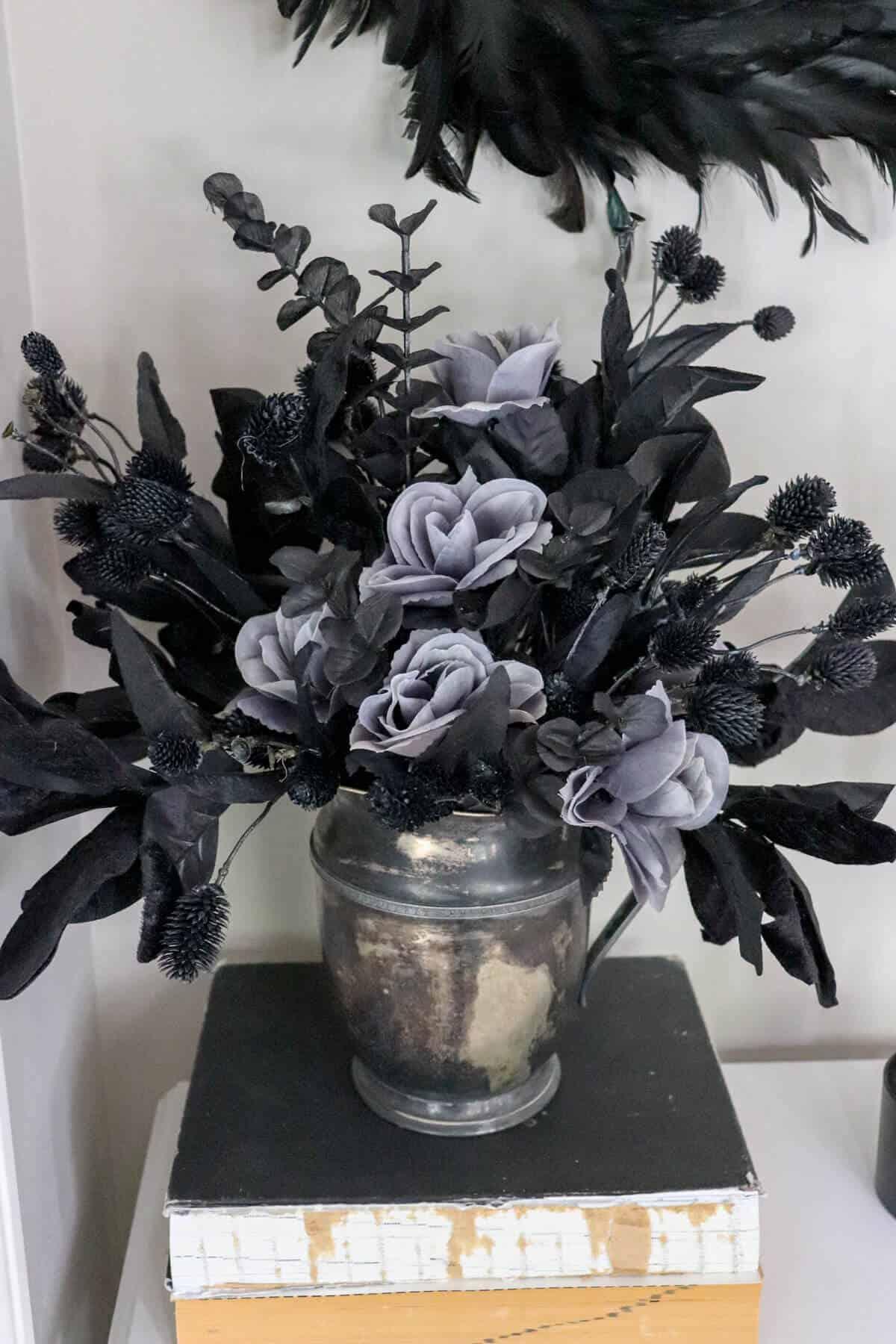black flower arrangement for halloween