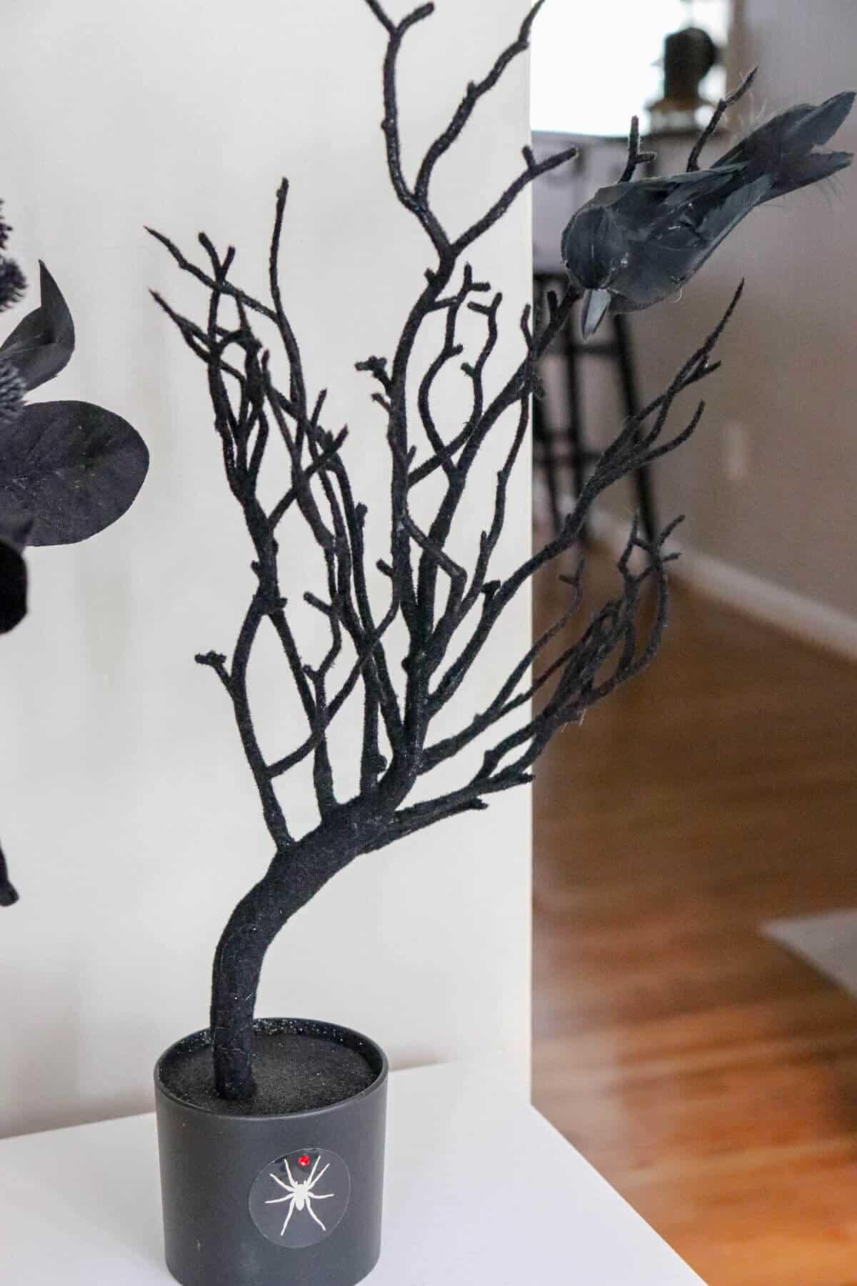 Black fuzzy halloween tree with crow