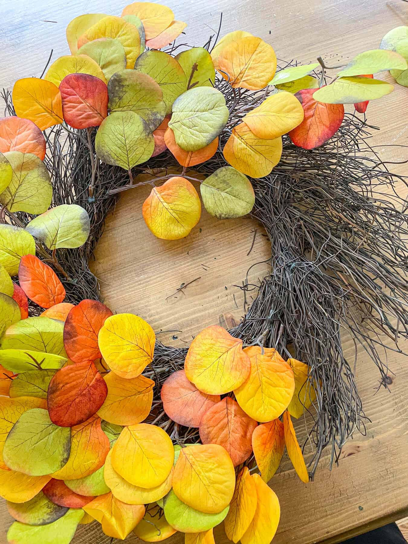 disassembling a fall grapevine wreath