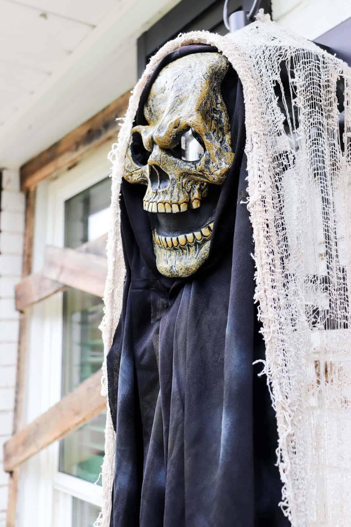 halloween mask covering exterior light