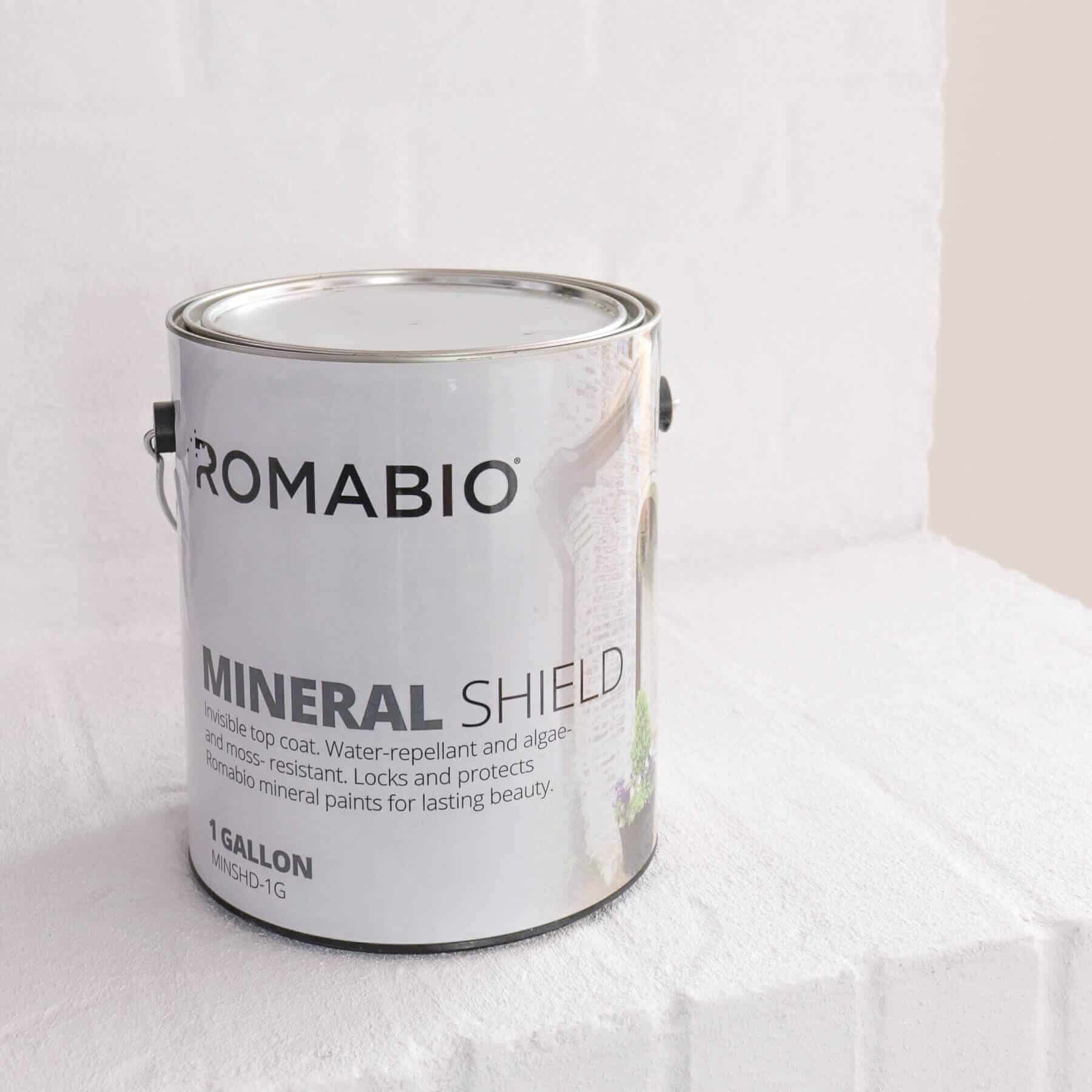 Romabio Mineral Shield can sitting on a lime slurry fireplace