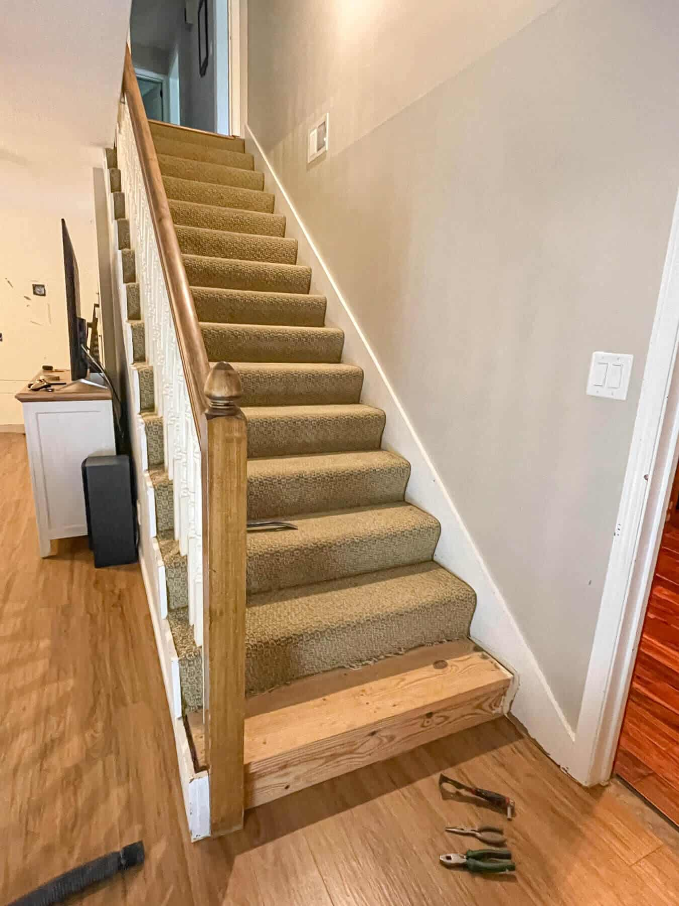 ripping carpet off basement stairs