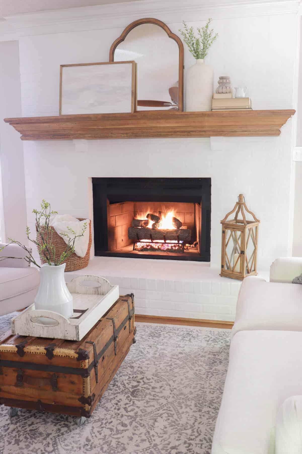 Romabio Lime slurry Fireplace with gas logs