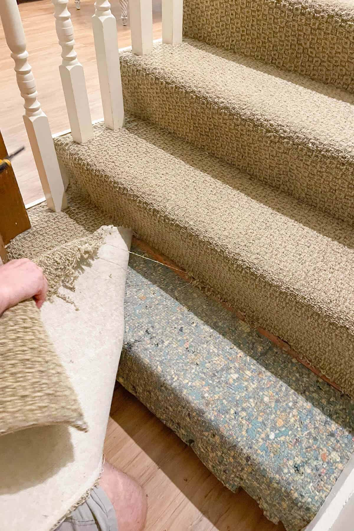 ripping carpeting off of stairs